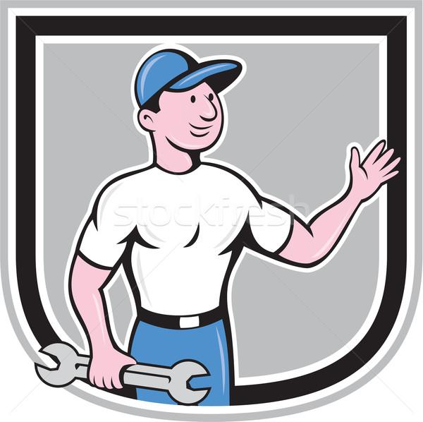 механиком гаечный ключ стороны Cartoon Сток-фото © patrimonio