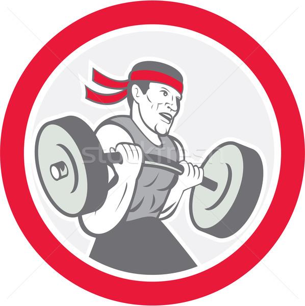 Weightlifter Lifting Barbell Circle Cartoon Stock photo © patrimonio