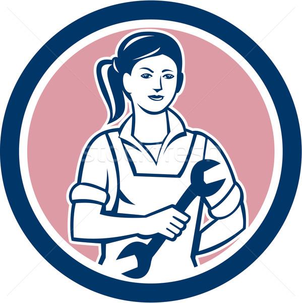 женщины механиком гаечный ключ круга ретро иллюстрация Сток-фото © patrimonio