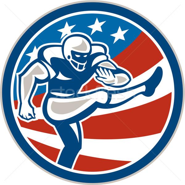 American Football Placekicker Circle Retro Stock photo © patrimonio