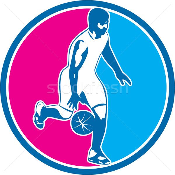 Kosárlabdázó labda kör retro illusztráció szemben Stock fotó © patrimonio