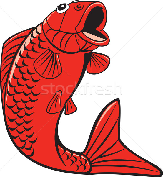 Koi Nishikigoi Carp Fish Jumping Cartoon Stock photo © patrimonio