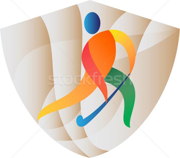 Jugador escudo retro ilustración ejecutando Foto stock © patrimonio