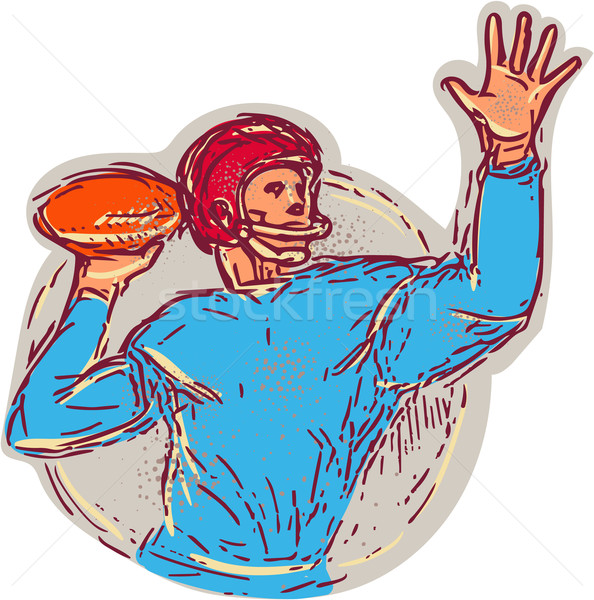 American Football Quarterback Throwing Ball Drawing Stock photo © patrimonio