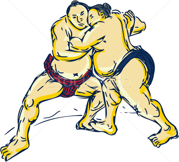 Japans sumo worstelaar worstelen tekening schets Stockfoto © patrimonio