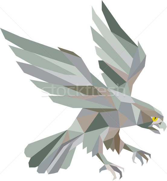 Peregrine Falcon Swooping Grey Low Polygon Stock photo © patrimonio