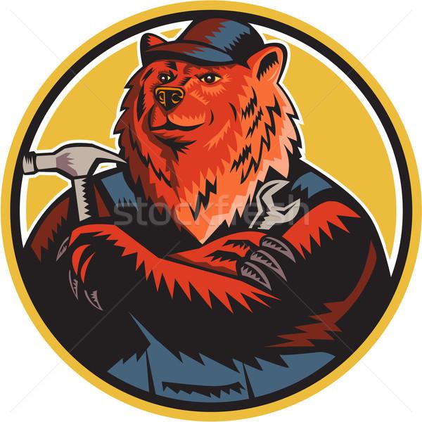Russian Bear Builder Handyman Circle Woodcut Stock photo © patrimonio