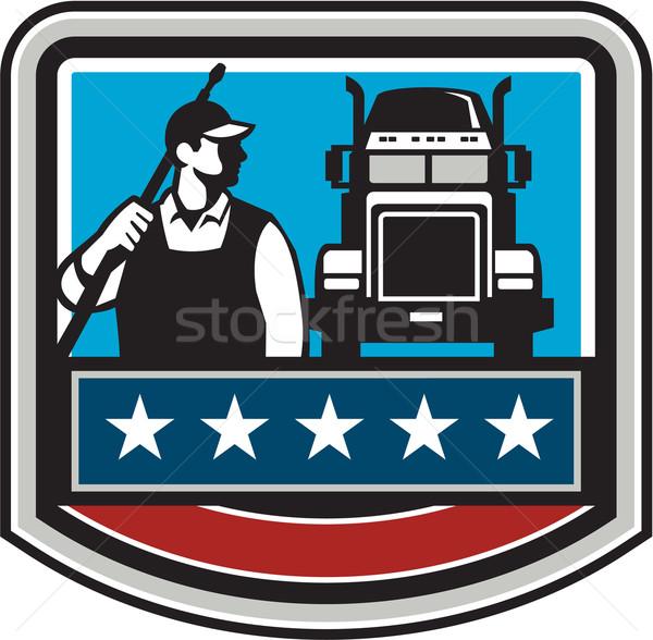 Druk wasmachine werknemer vrachtwagen kuif USA Stockfoto © patrimonio