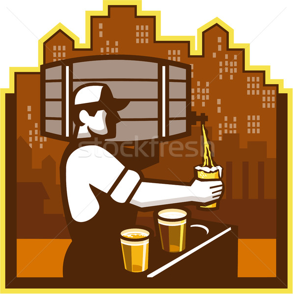Bartender Pouring Beer Keg Cityscape Retro Stock photo © patrimonio