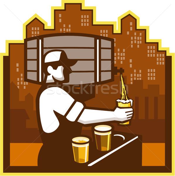 бармен пива Cityscape ретро иллюстрация Сток-фото © patrimonio