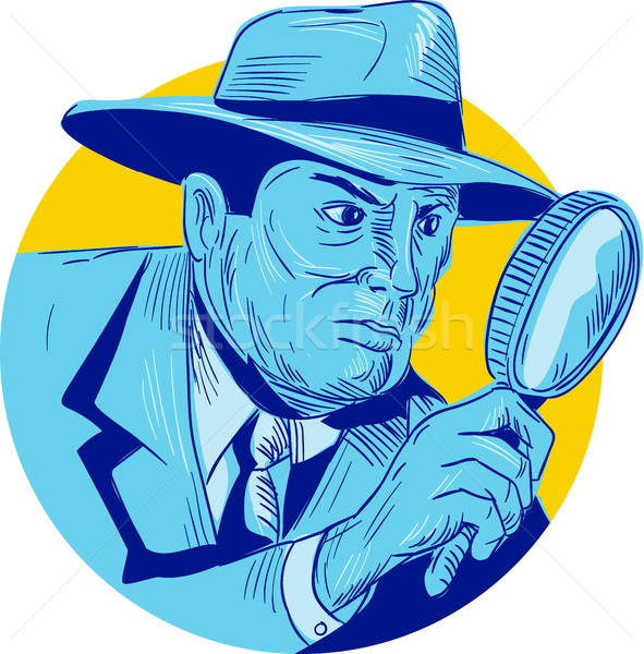 Detective Holding Magnifying Glass Circle Drawing Stock photo © patrimonio