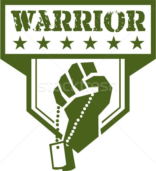 Soldier Hand Clutching Dogtag Warrior Crest Retro Stock photo © patrimonio