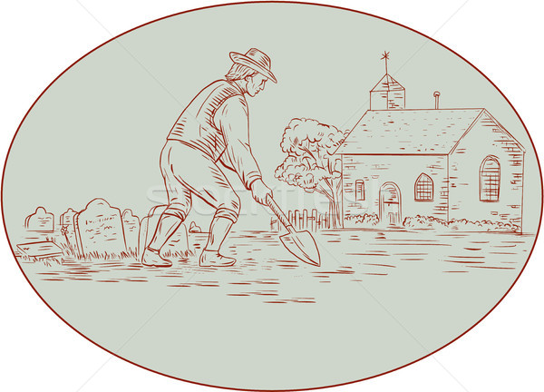 Medieval Grave Digger Shovel Oval Drawing Stock photo © patrimonio