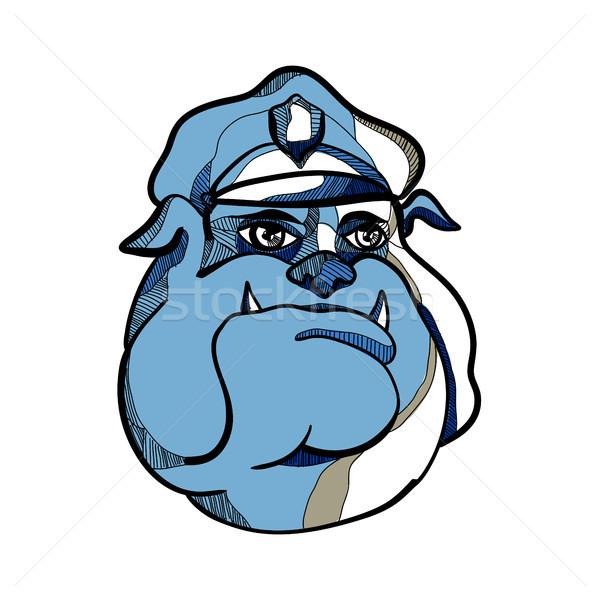 Bulldog Policeman Head Drawing Stock photo © patrimonio