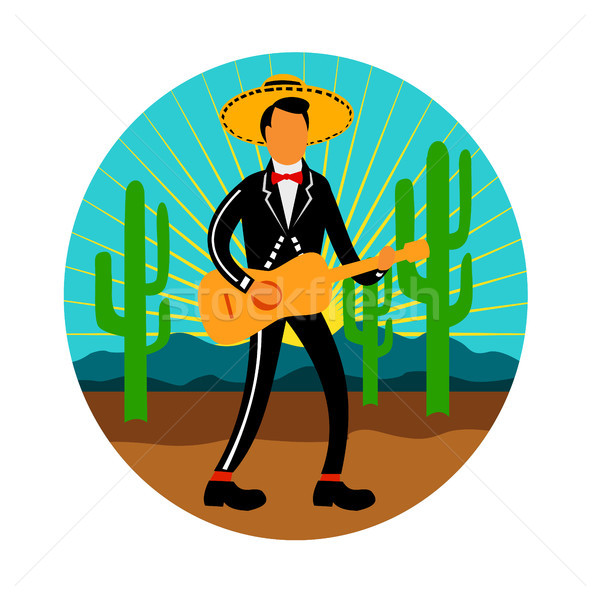 Mexican Mariachi in Desert Circle Retro Stock photo © patrimonio