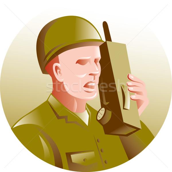 military soldier talking radio walkie-talkie Stock photo © patrimonio