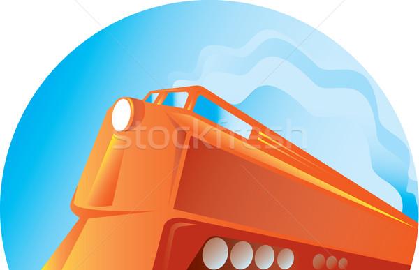 Diesel treno retro illustrazione stile retrò Foto d'archivio © patrimonio