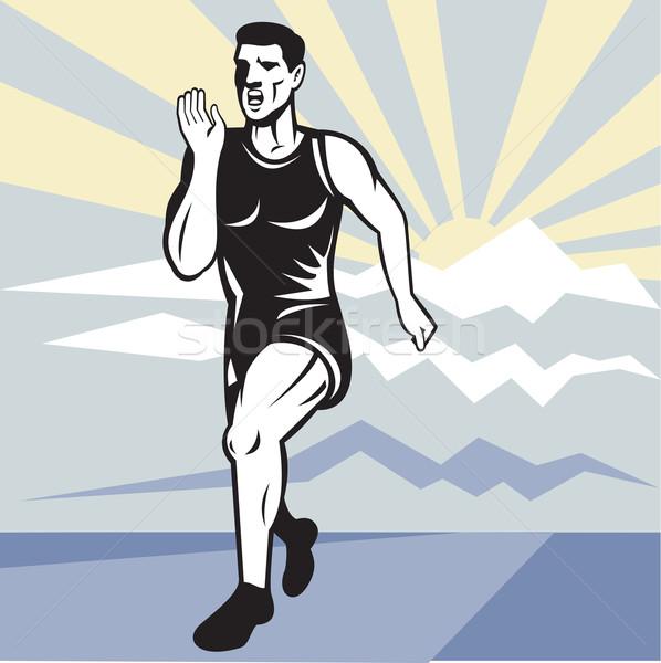 Stock photo: Marathon runner jogger fitness running front