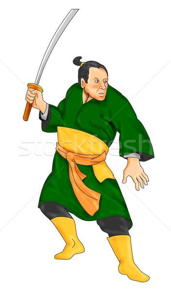 Samurai guerreiro espada ilustração posição Foto stock © patrimonio