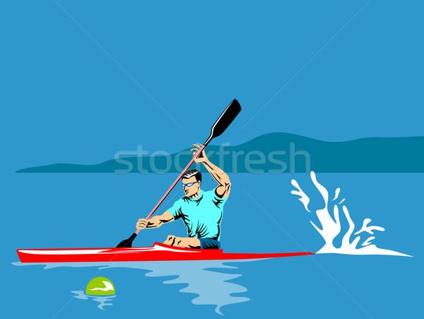 байдарках иллюстрация человека набор синий ретро-стиле Сток-фото © patrimonio