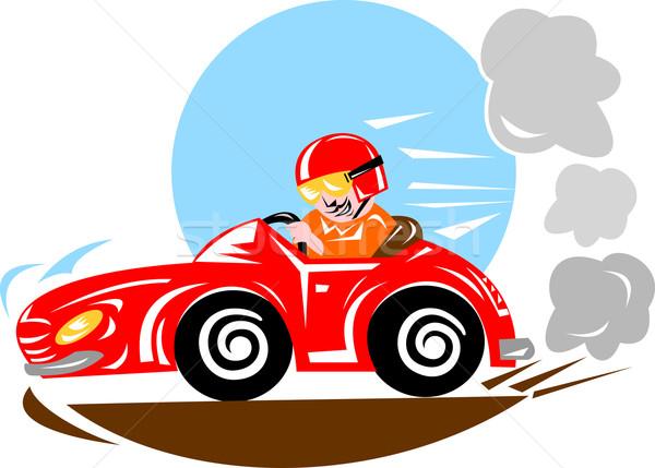 Versenyautó sofőr illusztráció vezetés piros retró stílus Stock fotó © patrimonio