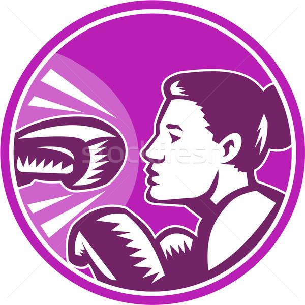 Stock photo: Female Boxer Punch Retro