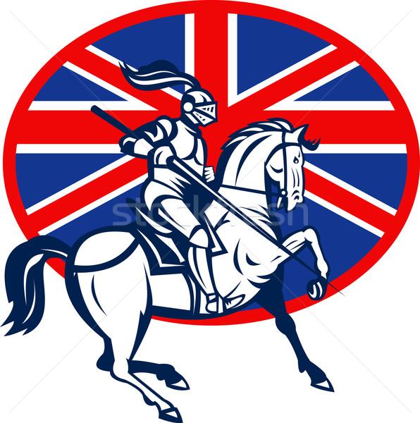 Knight on horse with lance and British flag Stock photo © patrimonio