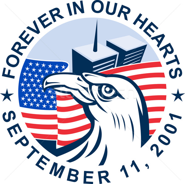 9/11 memorial american eagle flag twin towers Stock photo © patrimonio