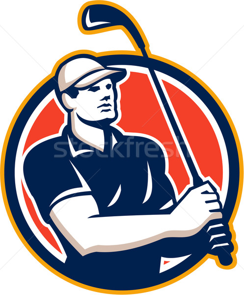 Golfer Tee Off Golf Circle Retro Stock photo © patrimonio