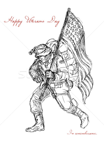 American Veterans Day Remembrance Greeting Card Stock photo © patrimonio