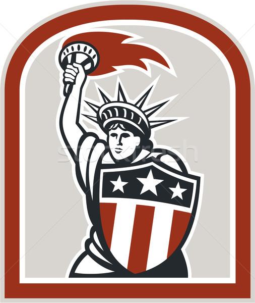 статуя свободы пылающий факел щит Сток-фото © patrimonio