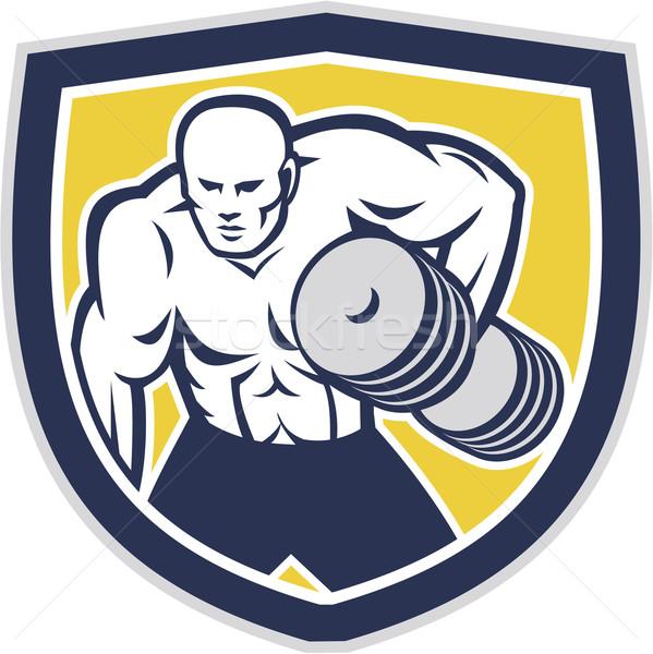 Strongman Lifting Dumbbells Front Shield Retro Stock photo © patrimonio