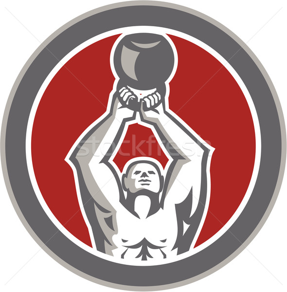 Strongman Lifting Up Kettlebell Circle Retro Stock photo © patrimonio