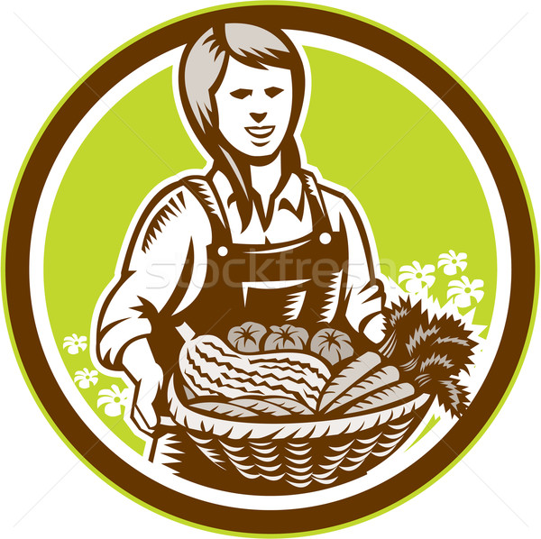 Organic Female Farmer Farm Produce Harvest Woodcut Stock photo © patrimonio