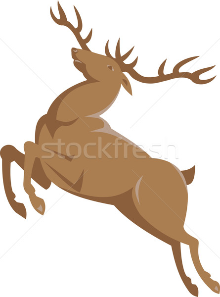 Elk Stag Deer Jumping Retro  Stock photo © patrimonio