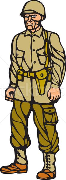 American World War Two Soldier Standing Linocut Stock photo © patrimonio