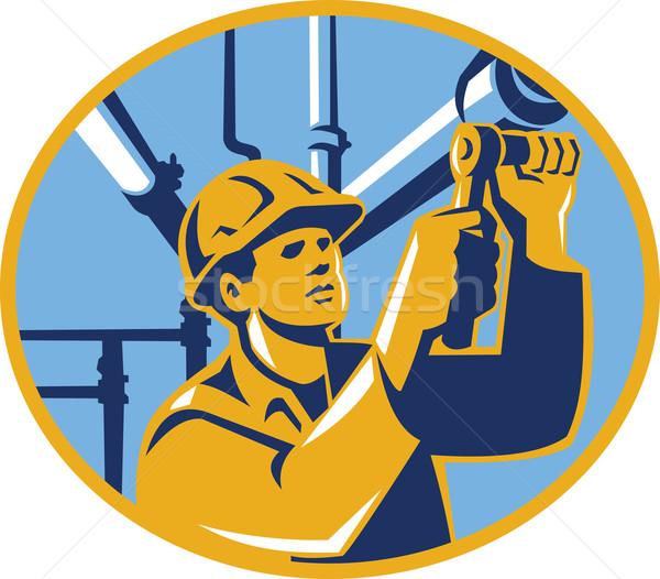 ストックフォト: メンテナンス · ガス · ワーカー · 配管 · 実例 · ソケット