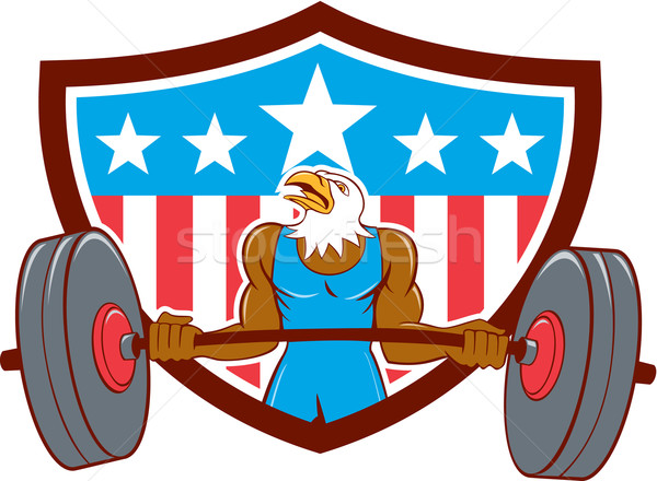 Bald Eagle Weightlifter Barbell USA Flag Stock photo © patrimonio