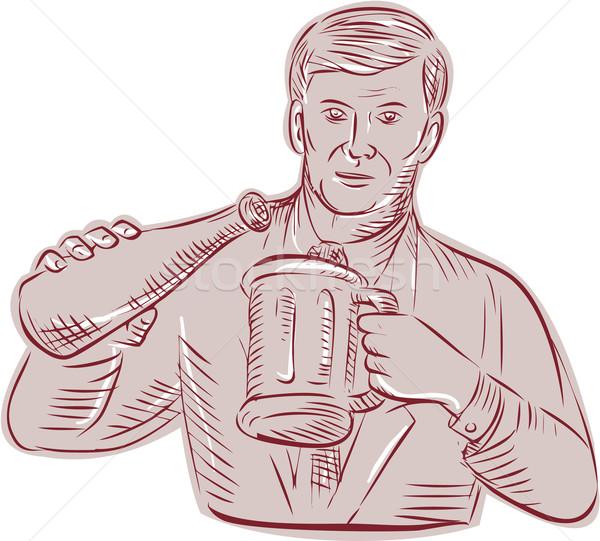 Man Pouring Beer Mug Etching Stock photo © patrimonio