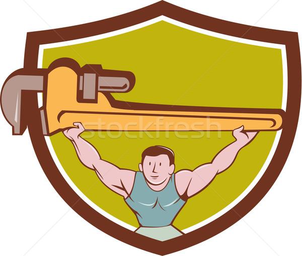 Plumber Weightlifter Monkey Wrench Crest Cartoon Stock photo © patrimonio