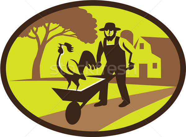 Amish Farmer Rooster Wheelbarrow Farm Oval Retro Stock photo © patrimonio