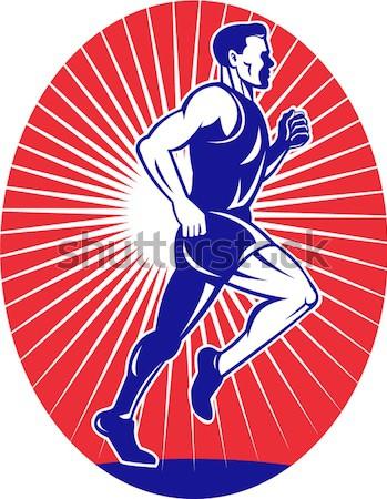 American Football Running Back Charging Cartoon Stock photo © patrimonio
