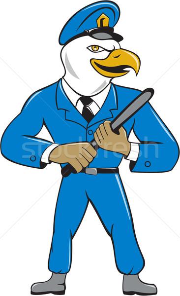 Stock photo: Bald Eagle Policeman Baton Cartoon