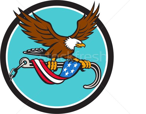 Stock photo: American Eagle Clutching Towing J Hook Flag Drape Circle Retro