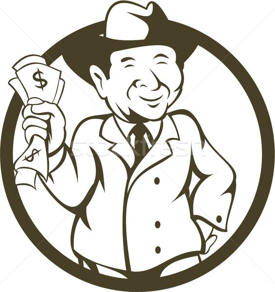Biznesmen fedora hat banku zauważa kółko Zdjęcia stock © patrimonio
