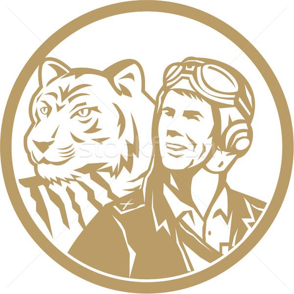 World War 2 Pilot Airman Tiger Gold Circle Retro Stock photo © patrimonio