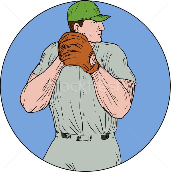 Baseball Pitcher Starting To Throw Ball Circle Drawing Stock photo © patrimonio