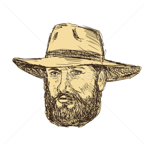 Brodaty cowboy głowie rysunek szkic stylu Zdjęcia stock © patrimonio