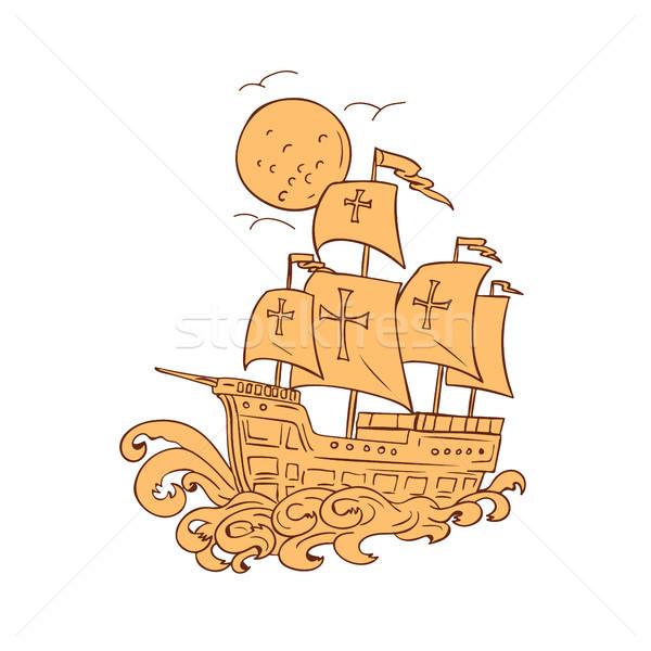Zeilschip maan tekening schets stijl illustratie Stockfoto © patrimonio