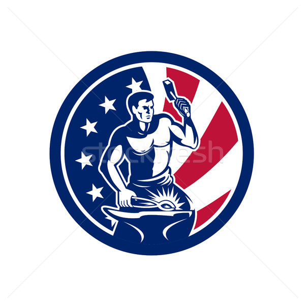 American Farrier USA Flag Icon Stock photo © patrimonio